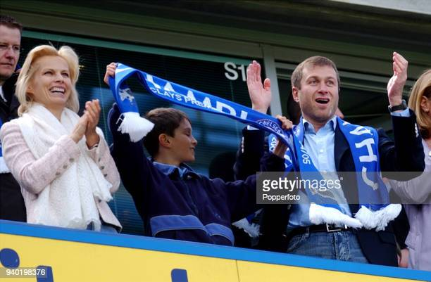 Chelsea owner Roman Abramovich and his family celebrate victory following the FA Barclays Premiership match between Chelsea and Charlton Athletic at...