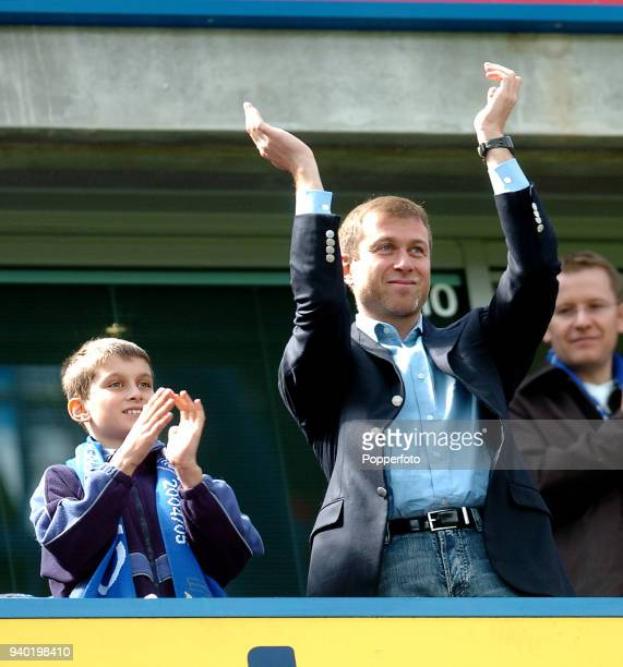 Chelsea owner Roman Abramovich and his son Arkadiy celebrate victory following the FA Barclays Premiership match between Chelsea and Charlton...