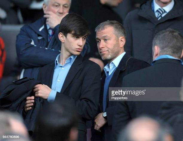 Chelsea owner Roman Abramovich and his son Arkady in the crowd during the UEFA Champions League QuarterFinal second leg match between Manchester...