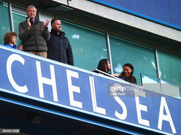 Chelsea owner Roman Abramovich applauds from the stand the Emirates FA Cup third round match between Chelsea and Scunthorpe United at Stamford Bridge...