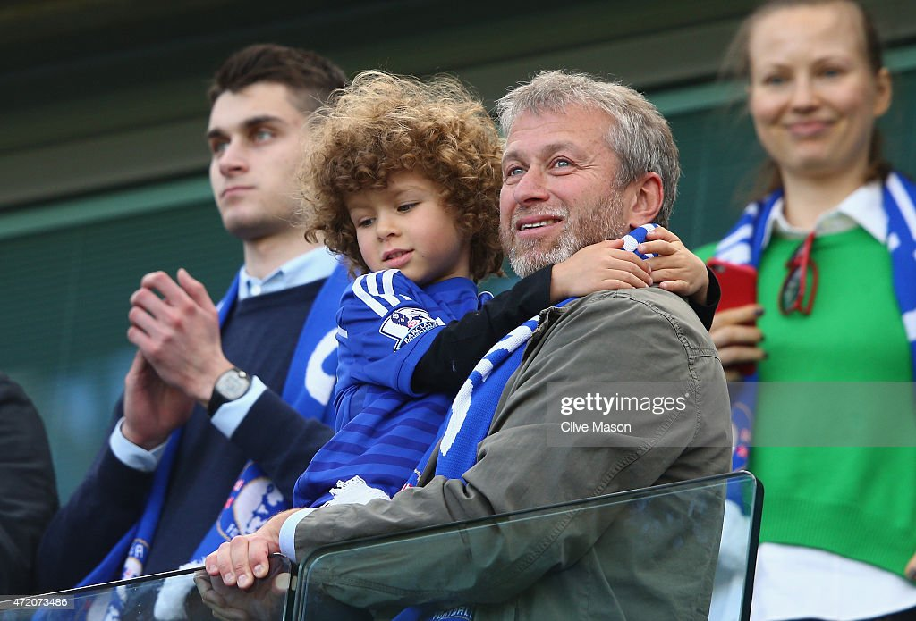 Chelsea owner Roman Abramovich looks on as Chelsea win the Premier League title after the Barclays Premier League match between Chelsea and Crystal Palace at Stamford Bridge on May 3, 2015 in London, England.