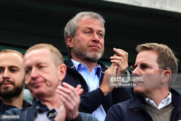 Chelsea owner Roman Abramovich looks on during the Premier League match between Chelsea and Sunderland at Stamford Bridge on May 21 2017 in London...