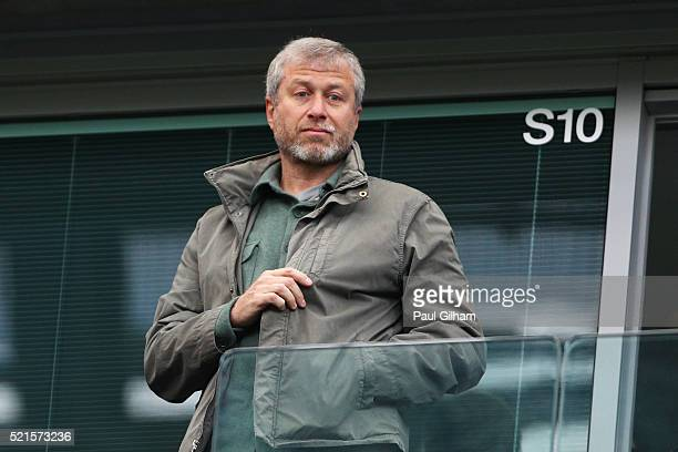 Chelsea owner Roman Abramovich looks on from the stands during the Barclays Premier League match between Chelsea and Manchester City at Stamford...