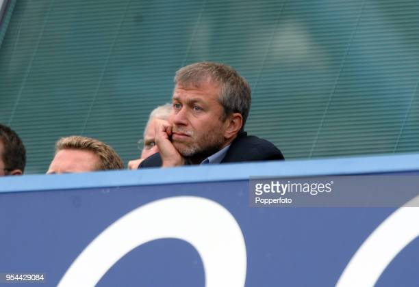 Chelsea owner Roman Abramovich watches from the stands during the Barclays Premier League match between Chelsea and Newcastle United at Stamford...