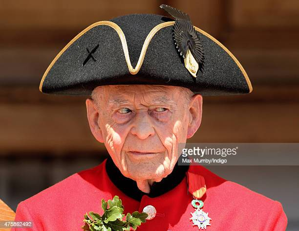 Chelsea Pensioner Ernie Boyden wears his Legion d'honneur medal which was presented during the annual Founder's Day Parade at the Royal Hospital...