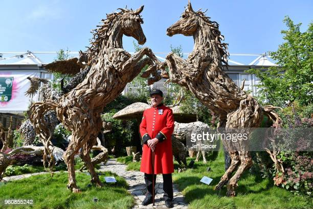 Chelsea Pensioner is seen at the Chelsea Flower Show 2018 on May 21 2018 in London England