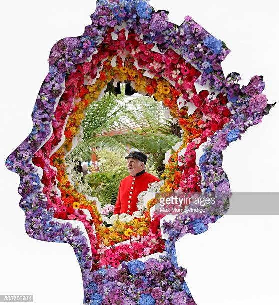 Chelsea Pensioner Ray Pearson views 'Behind Every Great Florist' a floral display in the shape of Queen Elizabeth II's head as he attends the RHS...