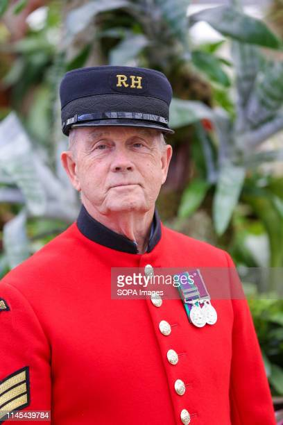 Chelsea Pensioner seen during the Chelsea Flower Show. The Royal Horticultural Society Chelsea Flower Show is an annual garden show over five days in...