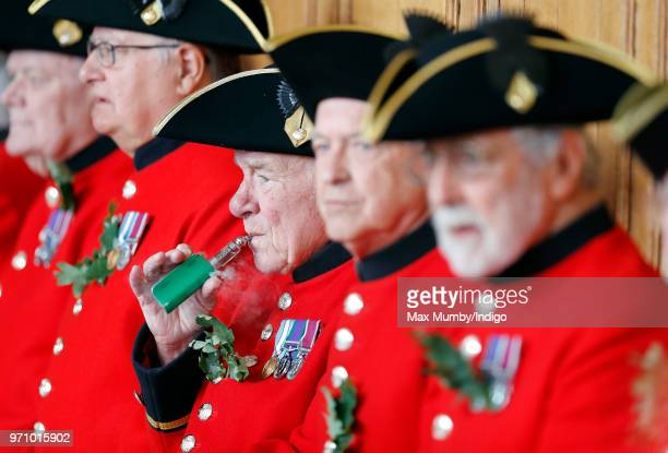 A Chelsea Pensioner seen vaping ahead of the annual Founder's Day Parade at the Royal Hospital Chelsea on June 7 2018 in London England Founder's Day...