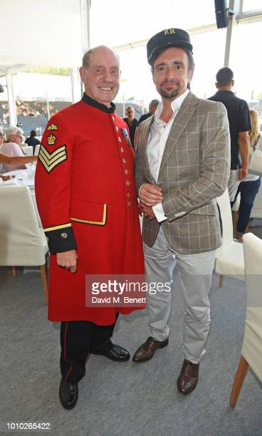 Chelsea Pensioner Tony Hunter and Richard Hammond attend the Longines hospitality lounge during the Global Champions Tour at Royal Hospital Chelsea...