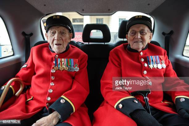 Chelsea pensioners and veterans of World War II George Skipper and Bill Fitzgerald are pictured in a black cab during a photo call for the launch of...