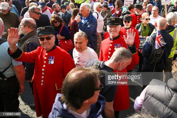Chelsea Pensioners are seen with thousands of Leave campaigners outside Parliament during the protest. Leave campaigners protest against the delay to...