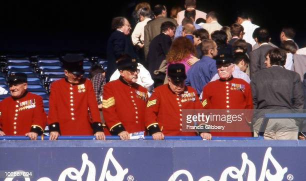Chelsea Pensioners at Stamford Bridge during the 1996/97 season at Stamford Bridge, in London, England.
