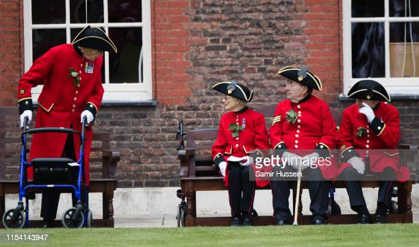 Chelsea Pensioners attend the annual Founder's Day parade at Royal Hospital Chelsea on June 06, 2019 in London, England.