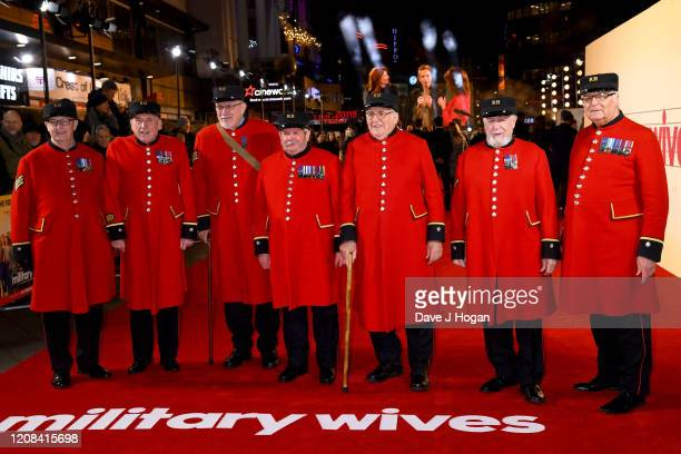 "Chelsea Pensioners attend the ""Military Wives"" UK Premiere at Cineworld Leicester Square on February 24, 2020 in London, England."