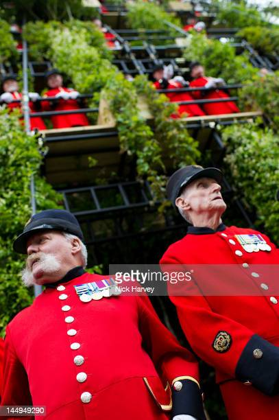 Chelsea pensioners attend the press and VIP preview day for The Chelsea Flower Show at Royal Hospital Chelsea on May 21, 2012 in London, England.