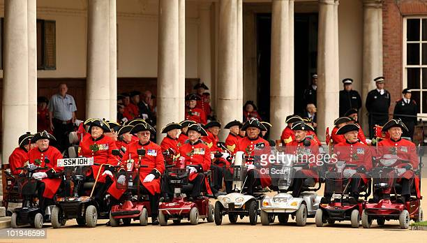 Chelsea Pensioners attend their Founder's Day Parade at The Royal Hospital Chelsea on June 10, 2010 in London, England. The celebration is also...