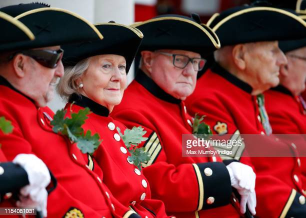 Chelsea Pensioners await the arrival of Prince Harry, Duke of Sussex at the annual Founder's Day Parade at the Royal Hospital Chelsea on June 6, 2019...