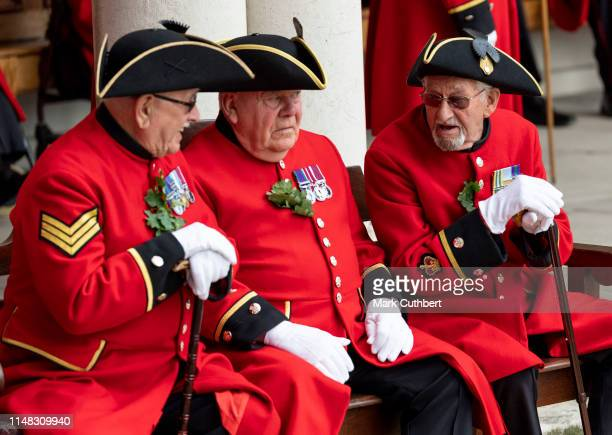 Chelsea Pensioners before the annual Founder's Day parade at Royal Hospital Chelsea on June 6, 2019 in London, England.