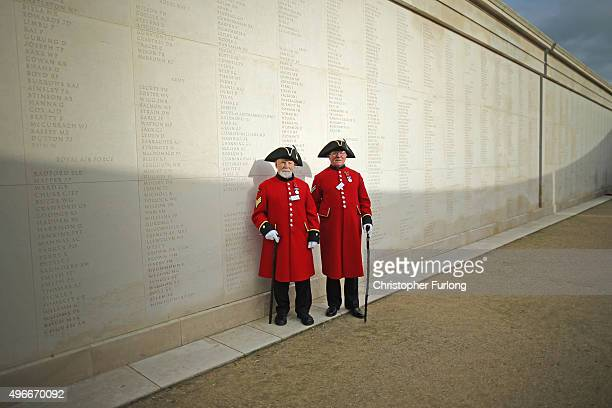 Chelsea Pensioners David Grant and James Fellows pose for the media as they attend the annual Armistice Day Service at the Armed Forces Memorial at...