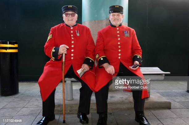 Chelsea pensioners enjoy the pre match atmosphere prior to the Carabao Cup Final between Chelsea and Manchester City at Wembley Stadium on February...