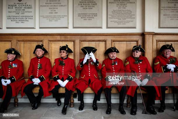 Chelsea Pensioners gather for the Founder's Day Parade at Royal Hospital Chelsea on June 7 2018 in London England The annual event celebrates the...