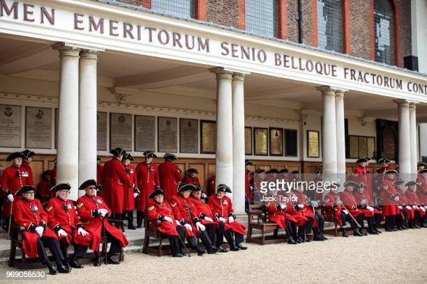 Chelsea Pensioners gather for the Founder's Day Parade at Royal Hospital Chelsea on June 7, 2018 in London, England. The annual event celebrates the...