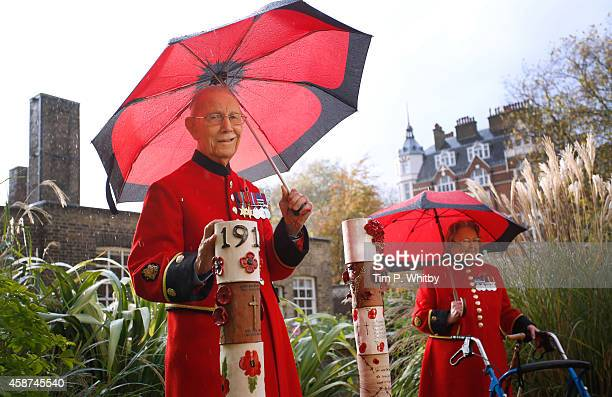 Chelsea Pensioners Jimmy Jones and Winifred Phillips attend the unveiling of a display of pottery poppies at Royal Hospital Chelsea on November 10...
