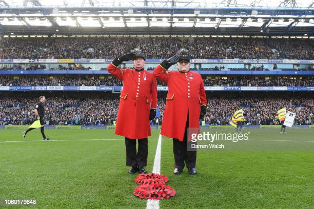 Chelsea Pensioners lay a Remembrance Day wreath prior during the Premier League match between Chelsea FC and Everton FC at Stamford Bridge on...
