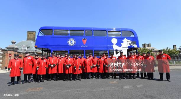 Chelsea Pensioners leave Stamford Bridge for Wembleyto watch the Chelsea v Manchester United The Emirates FA Cup Final at Wembley Stadium on May 19...