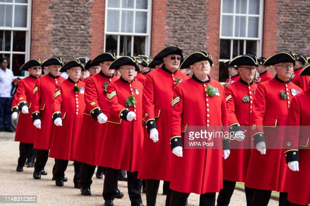 Chelsea Pensioners march during the annual Founder's Day parade at Royal Hospital Chelsea on June 6, 2019 in London, England.