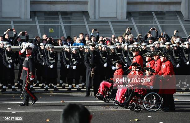 Chelsea Pensioners march during the annual Remembrance Sunday memorial on November 11 2018 in London England The armistice ending the First World War...