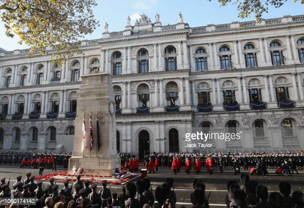 Chelsea Pensioners pass The Cenotaph as they march during the annual Remembrance Sunday on November 11 2018 in London England The armistice ending...