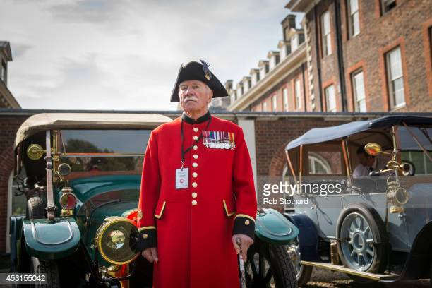 Chelsea Pensioners prepare to take part in the Great War centenary parade of Edwardian cars through central London at Royal Hospital Chelsea on...