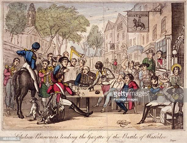 Chelsea Pensioners reading the gazette of the Battle of Waterloo Chelsea London 1815 Scene of excitement outside the Duke of York public house as...