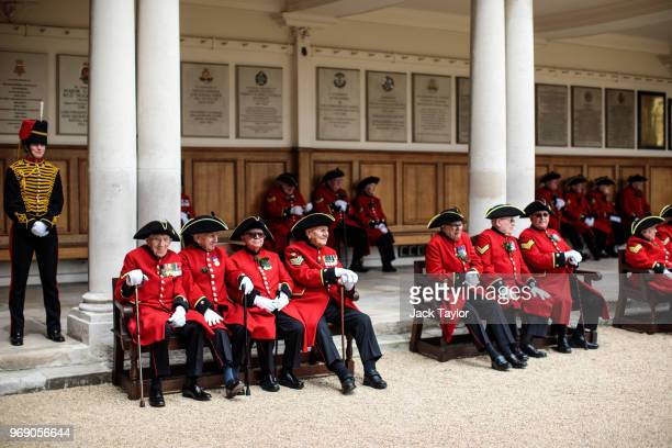 Chelsea Pensioners take part in the Founder's Day Parade at Royal Hospital Chelsea on June 7, 2018 in London, England. The annual event celebrates...