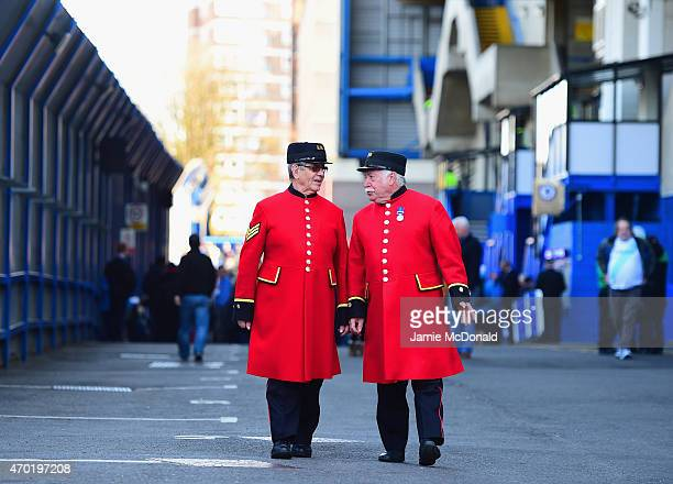 Chelsea pensioners walk outside the stadium prior to the Barclays Premier League match between Chelsea and Manchester United at Stamford Bridge on...