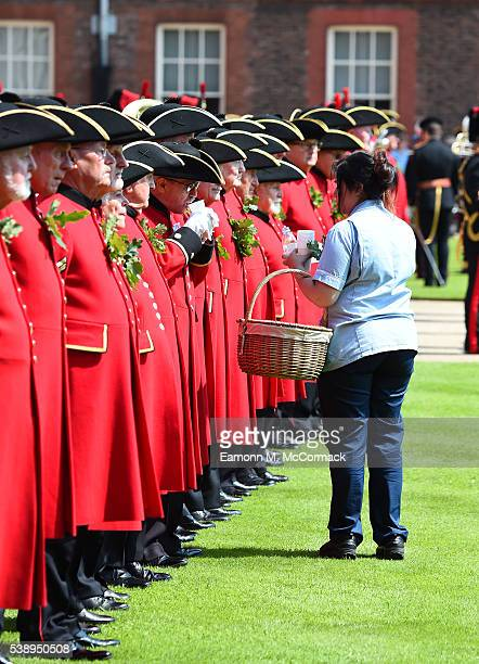 Chelsea pensiors line up during the Founders Day Parade at The Royal Hospital Chelsea on June 9, 2016 in London, England.