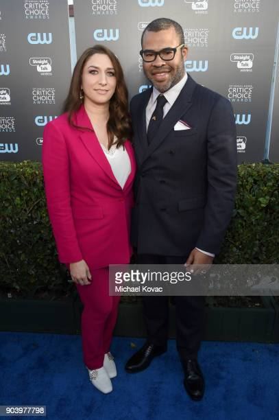 Chelsea Peretti and actor Jordan Peele attend Moet Chandon celebrate The 23rd Annual Critics' Choice Awards at Barker Hangar on January 11 2018 in...