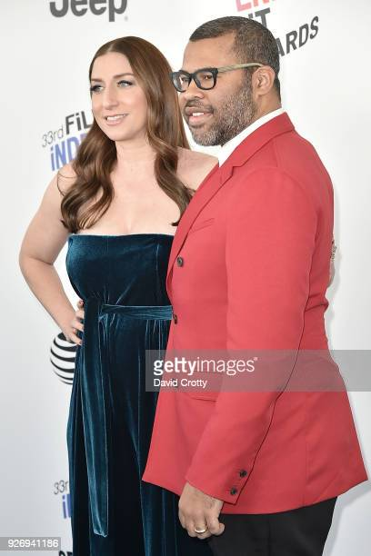 Chelsea Peretti and Jordan Peele attend the 2018 Film Independent Spirit Awards Arrivals on March 3 2018 in Santa Monica California