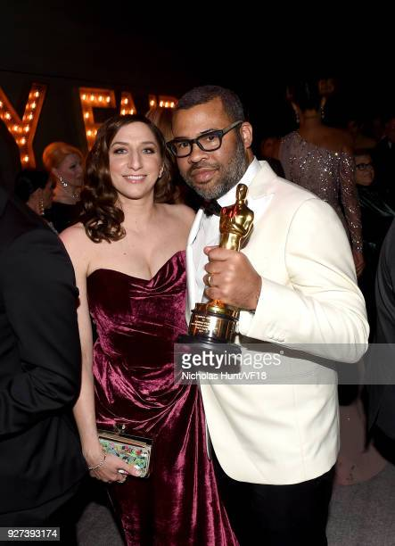 Chelsea Peretti and Jordan Peele attend the 2018 Vanity Fair Oscar Party hosted by Radhika Jones at Wallis Annenberg Center for the Performing Arts...