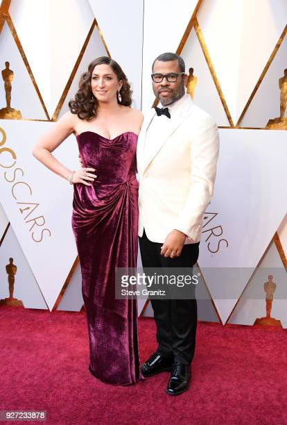 Chelsea Peretti and Jordan Peele attend the 90th Annual Academy Awards at Hollywood Highland Center on March 4 2018 in Hollywood California