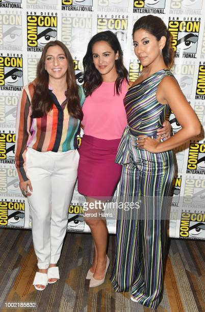 Chelsea Peretti Melissa Fumero and Stephanie Beatriz attend 'Brooklyn NineNine' Press Line during ComicCon International 2018 at Hilton Bayfront on...