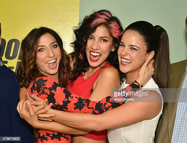 Chelsea Peretti Stephanie Beatriz and Melissa Fumero attend the Brooklyn NineNine FYC Panel at UCB Sunset Theater on June 2 2015 in Los Angeles...