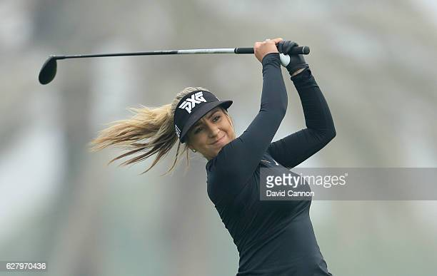 Chelsea Pezzola of the United States in action during the proam as a preview for the 2016 Omega Dubai Ladies Masters on the Majlis Course at the...