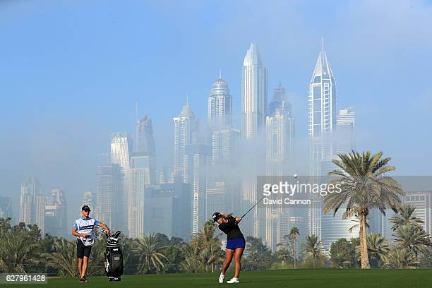 Chelsea Pezzola of the United States plays her second shot on the par 5 13th hole during the proam as a preview for the 2016 Omega Dubai Ladies...