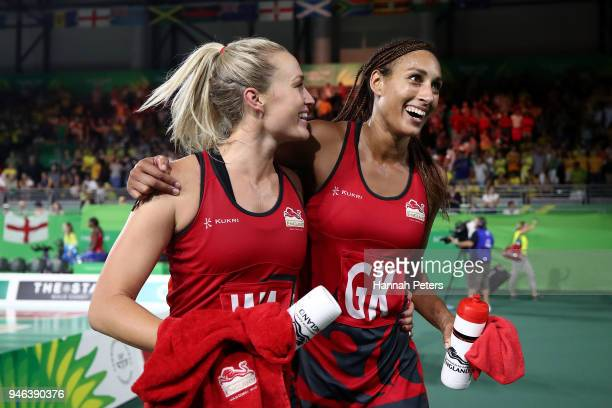 Chelsea Pitman and Geva Mentor of England celebrate victory in the Netball Gold Medal Match on day 11 of the Gold Coast 2018 Commonwealth Games at...