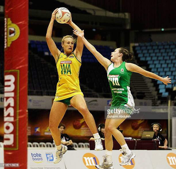Chelsea Pitman of Australia and Lisa McCaffery of Northern Ireland compete for the ball during the match between Australia and Northern Ireland on...