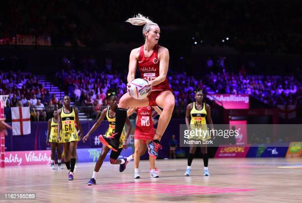 Chelsea Pitman of England in action during the preliminaries stage two schedule match between Jamaica and England at M&S Bank Arena on July 15, 2019...