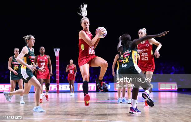 Chelsea Pitman of England in action during the preliminaries stage two schedule match between England and South Africa at MS Bank Arena on July 18...